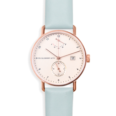 Atticus in Rose Gold with Meltwater Blue strap