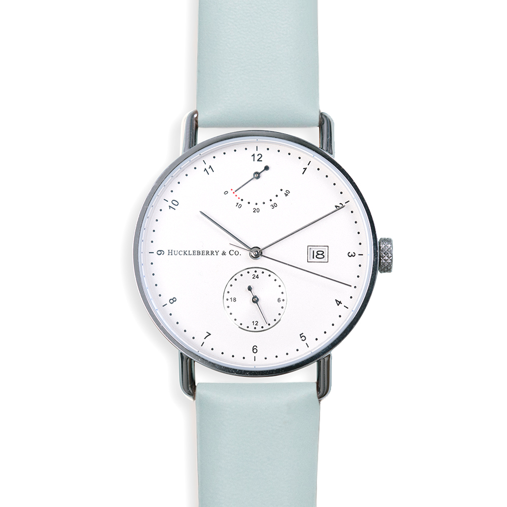 Atticus in Silver with Meltwater Blue strap