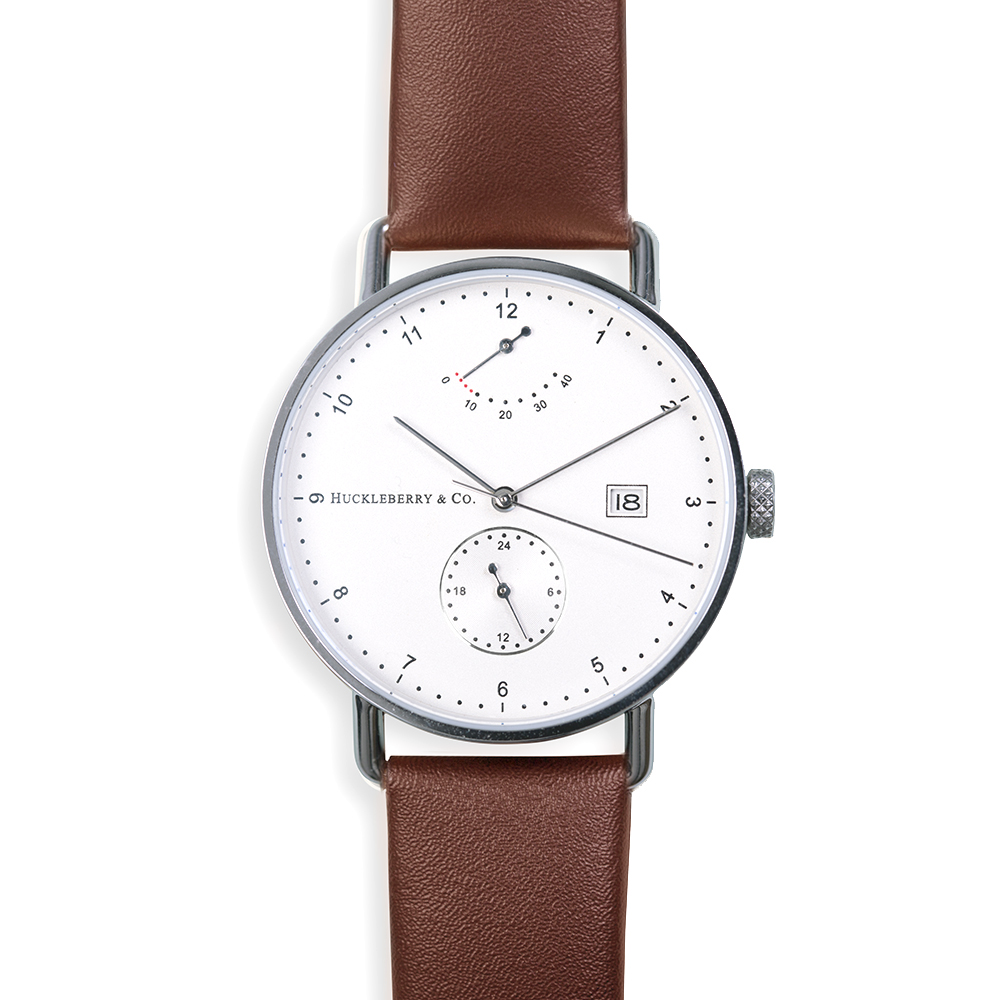 Atticus in Silver with Chestnut Brown strap