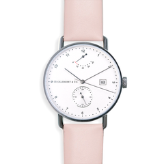 Atticus in Silver with French Pink strap