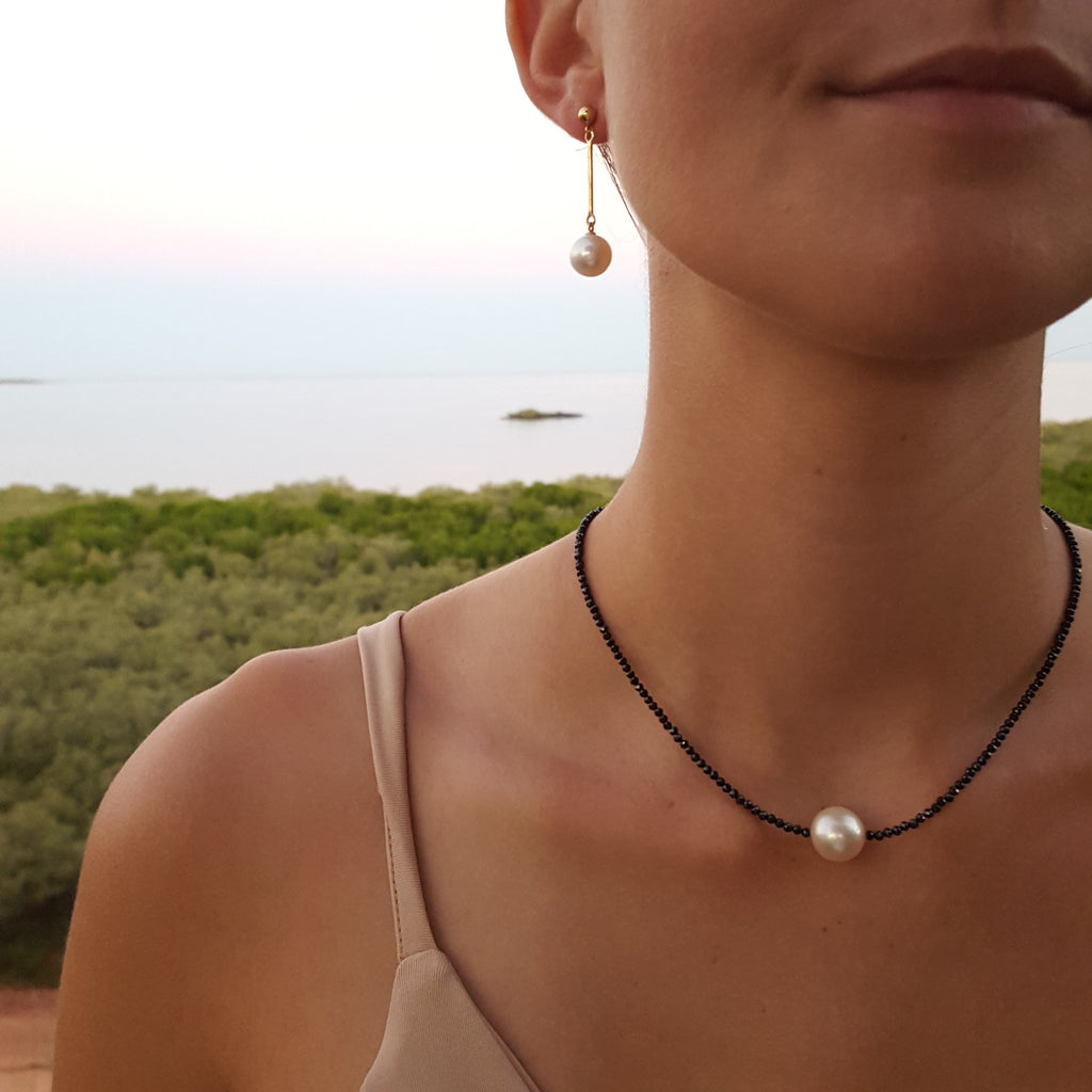 Stunning single Pearl Necklace featuring Hematite. Australian design. Broome Gallery