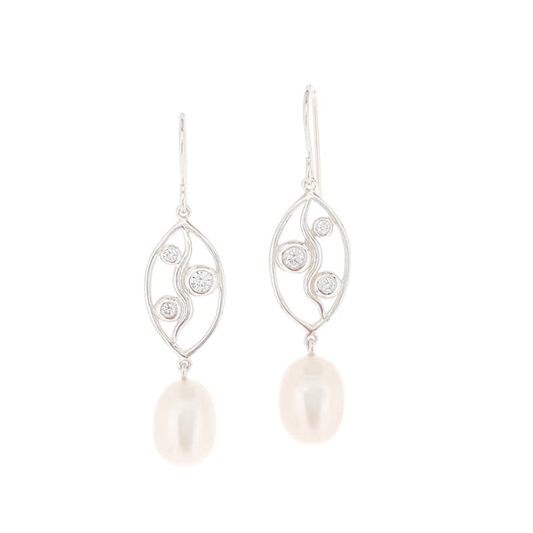 Earrings Long drops with leaf shape Sterling silver wire work with centre curved line offset with 3 CZ gems large swinging pearls hook style