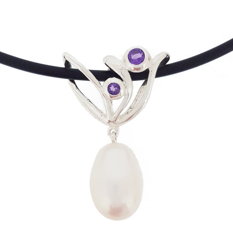 Amethyst & Pearl Pendant 'Champagne Coral'