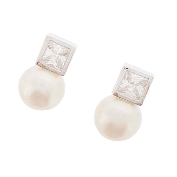 Cubic Zirconia & Pearl Earrings 'Meghan' - The Courthouse Collection