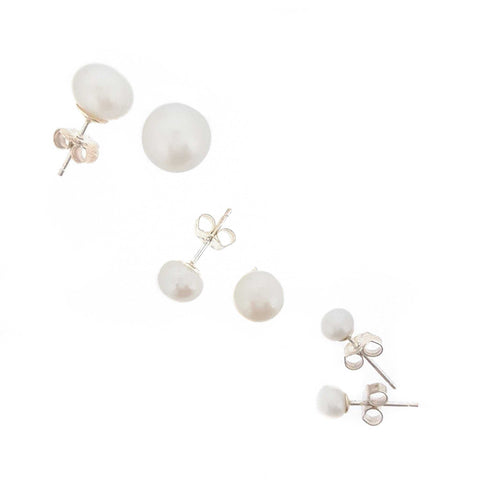 Pearl Earrings 'White Studs'