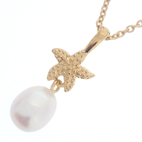 Pearl Pendant 'Starfish Gold' White