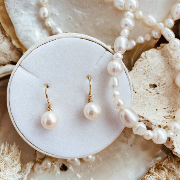 Pearl Earrings 'Round Pearl' Gold l Rose Gold - The Courthouse Collection