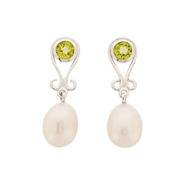 Pearl Earrings 'Royal' Cubic Zirconia, Garnet, Peridot