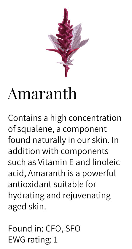 amaranth, squalene, vitamin e, hydrating, rejuvenating, anti-aging, linoleic acid