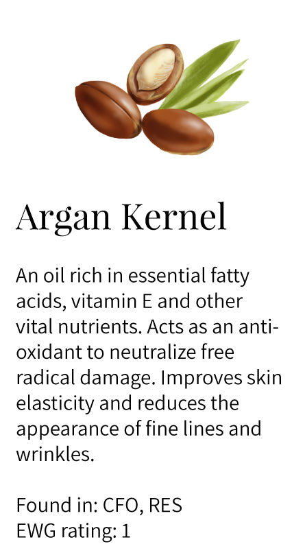 argan kernel oil, antioxidant, elastin, vitamin E, fatty acids, reduces lines and wrinkles