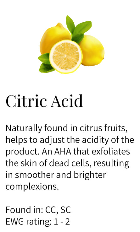 citric acid, AHA, exfoliating, adjusts acidity, dead cells removal, brightening