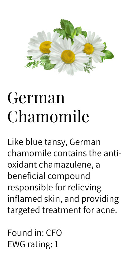 german chamomile, chamazulene, anti-inflammatory, calming, soothing, sensitive skin, acne, Clarify Face Oil