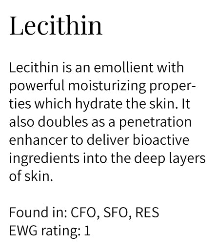 lecithin, emollient, moisturizing, hydration. penetration enhancer, face oils, eye serum