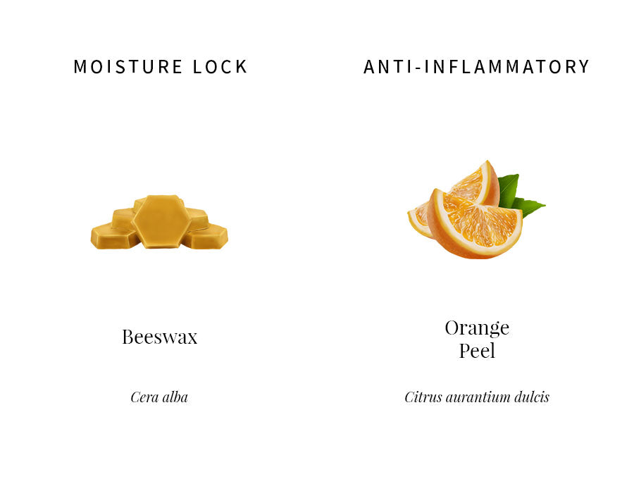 ingredients education, beeswax, occlusive, moisture locking, hydration, orange peel oil, anti-inflammatory, lines correcting, antioxidant, illustration