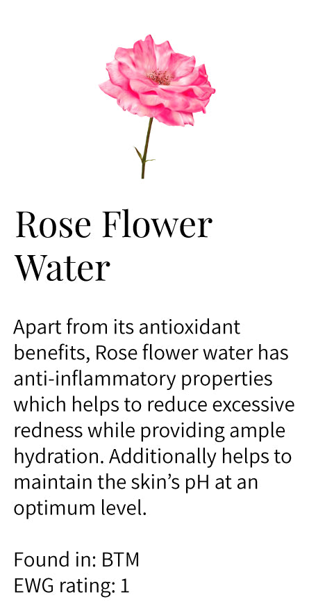 Rose flower water, antioxidants, anti-inflammatory, redness, hydration, reduce appearance of dark circles, Balance Toning Mist