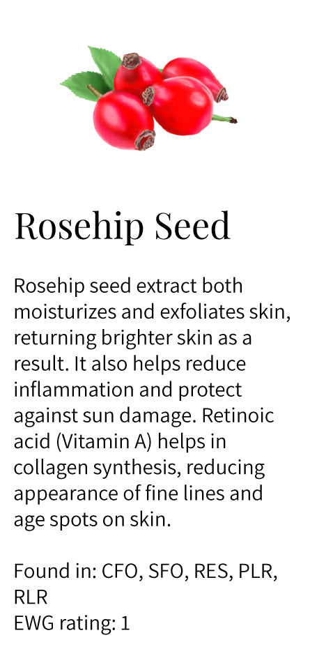 Rosehip seed extract, retinoic acid, Vitamin A, collagen synthesis, moisturizing, exfoliating, brightening, anti-inflammatory, reduce wrinkles and lines