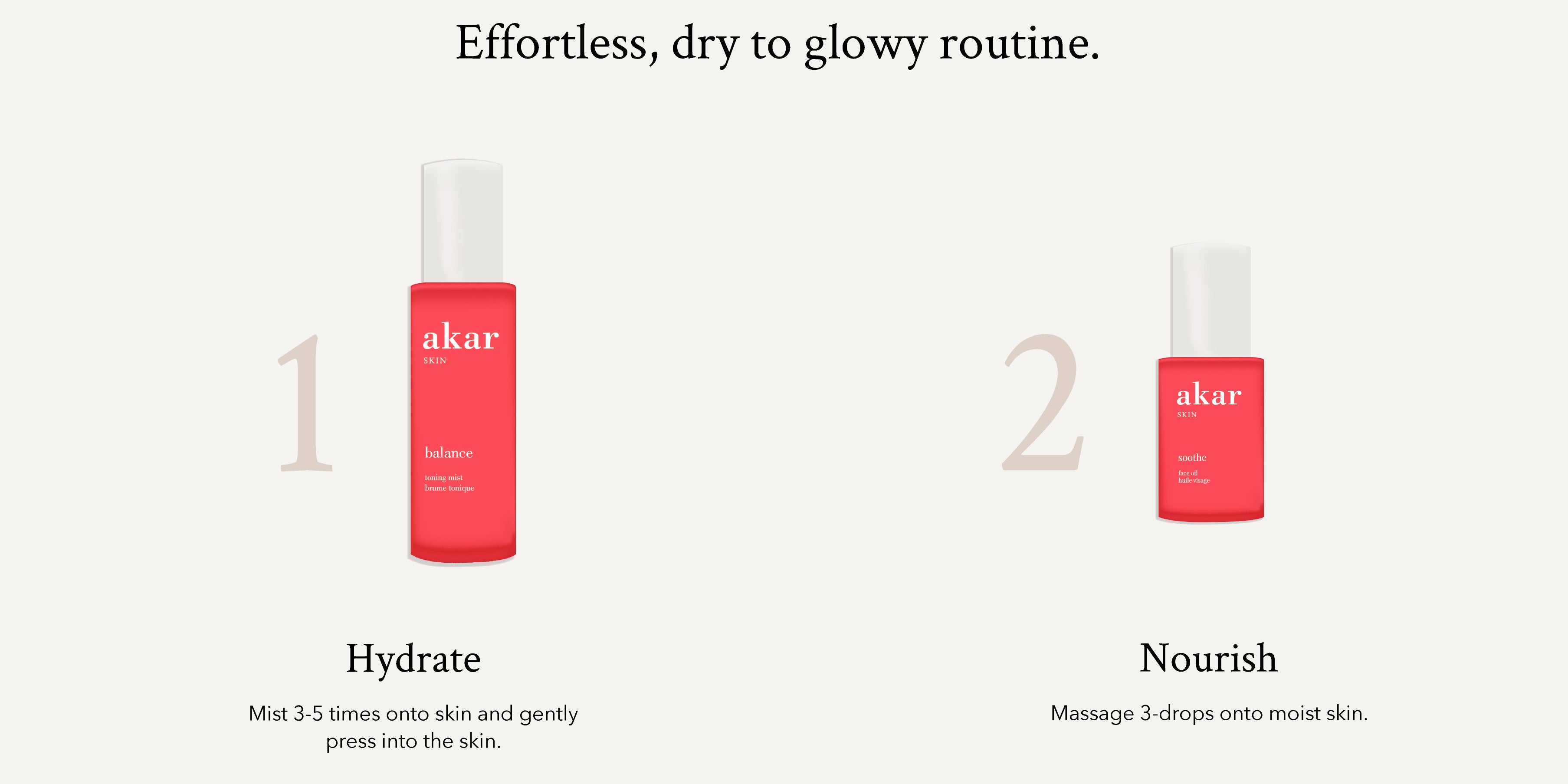 Akar Skin, Soothe Essentials, Balance Toner, Soothe Face Oil, skincare products, illustration, clean beauty, infograph