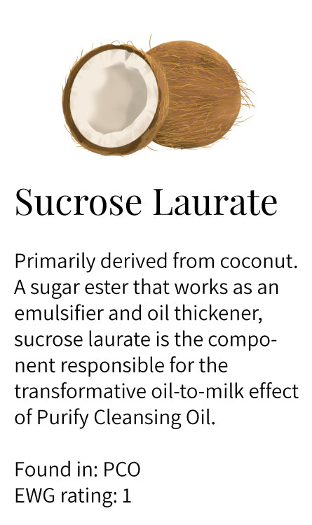 Sucrose laurate, coconut, sugar ester, emulsifier, oil thickener, oil-to-milk, Purify Cleansing Oil