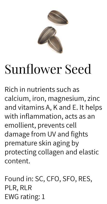 Sunflower seed, protects collagen and elastin, minerals, vitamin A, K, E, anti-inflammatory, emollient, prevents cell damage, anti-aging