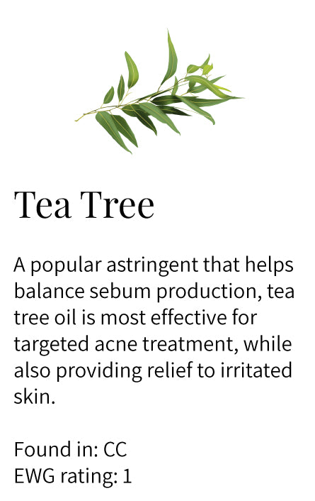 Tea tree, astringent, sebum production, acne treatment, irritated oily problem skin, Clarify Cleanser