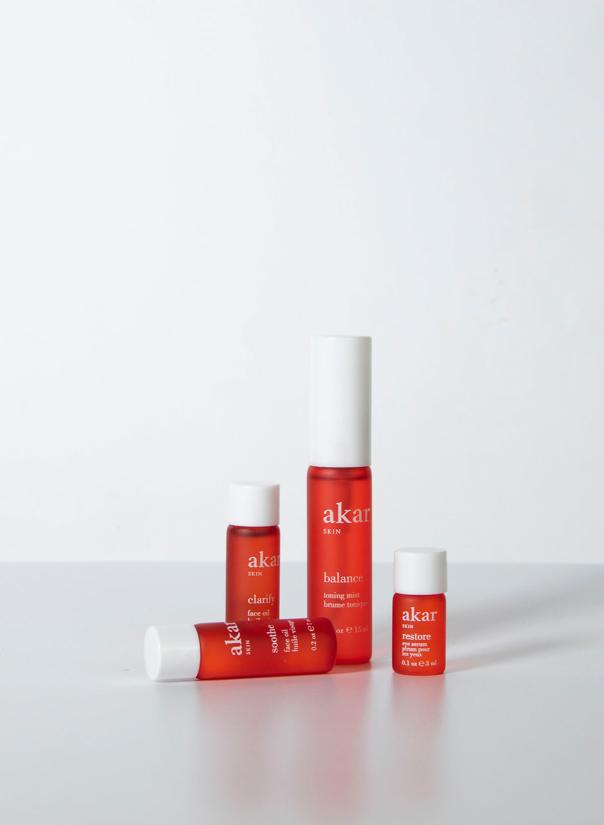 Minis kit, balance toner, clarify face oil, soothe face oil, restore eye serum, pure lip restoration, travel