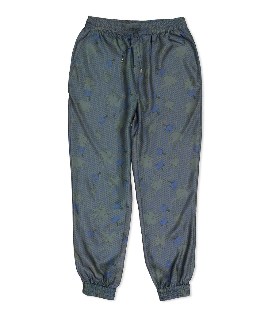 5d65194d223 All At Sea | Green & Blue Silk Tracksuit Trousers | All At Sea Cph