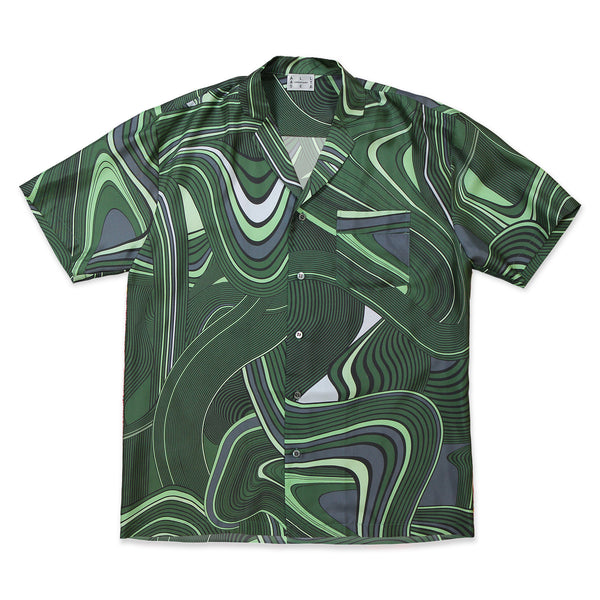 Green Psychedelic Cuban Shirt - All At Sea Cph
