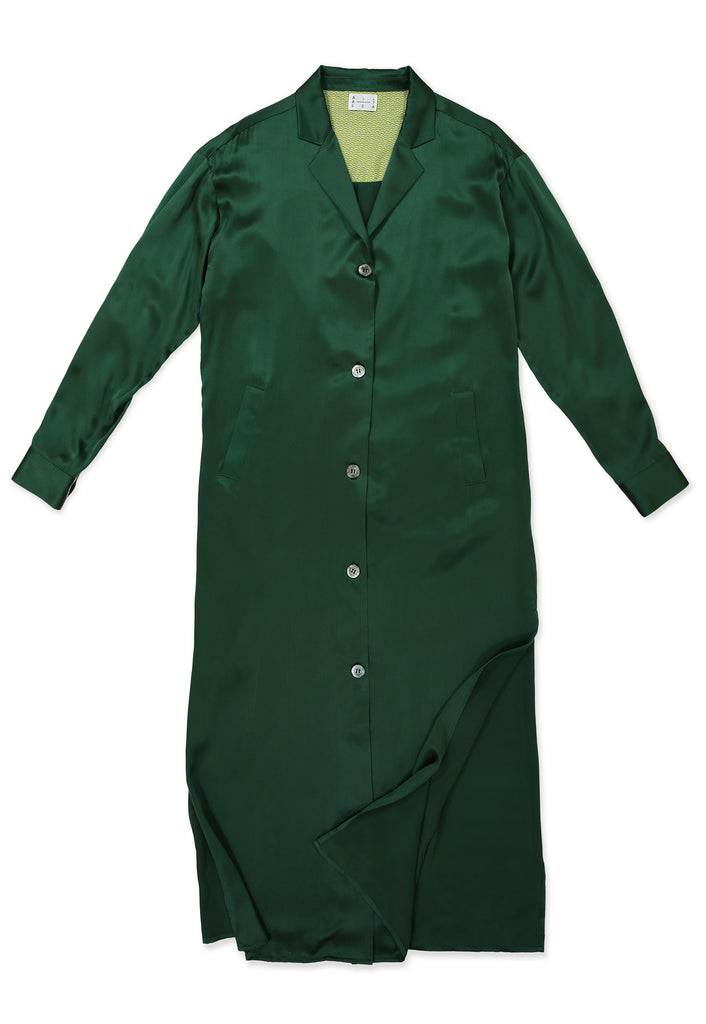 Green Sandwashed Silk Shirt Dress - All At Sea Cph