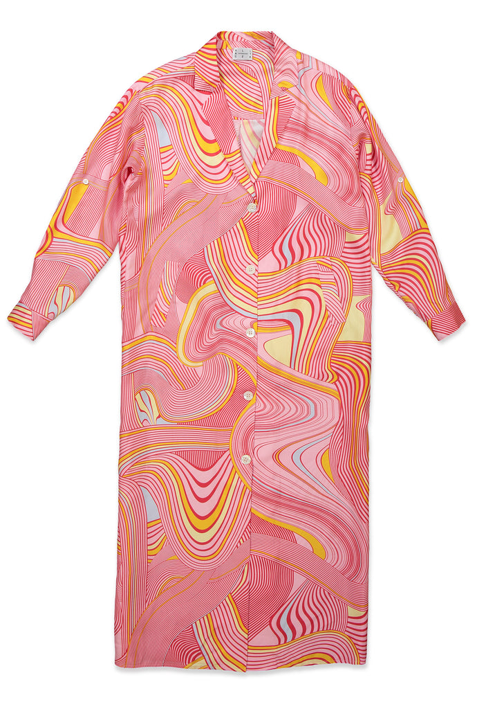 Pink Psychedelic Shirt Dress - All At Sea Cph