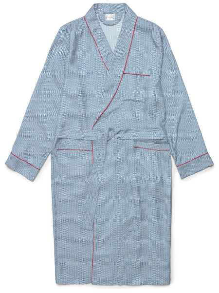 Classic Blue Wave Silk Dressing Gown