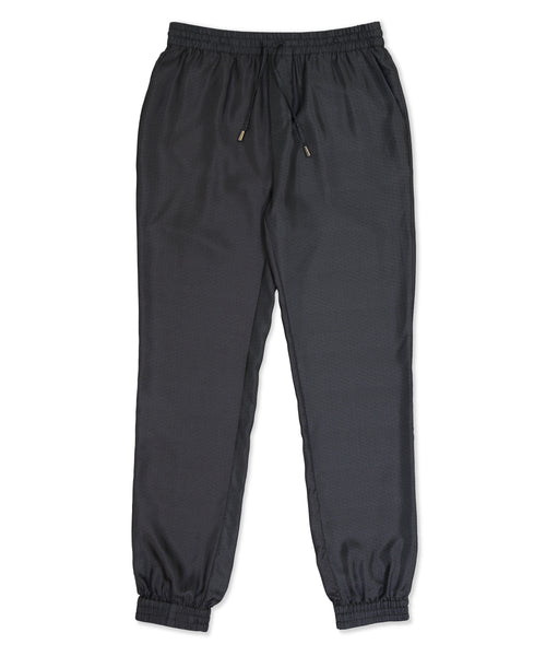 Black Wave Silk Tracksuit Trousers