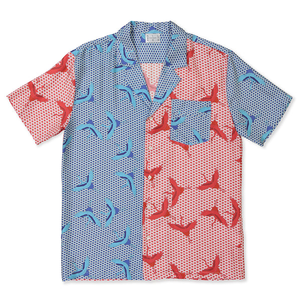 Red & Blue Bird Wave Cuban Shirt - All At Sea Cph