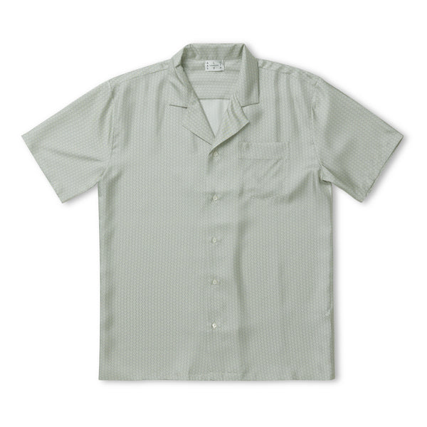 Sky Light Wave Silk Short Sleeve Cuban Shirt - All At Sea Cph