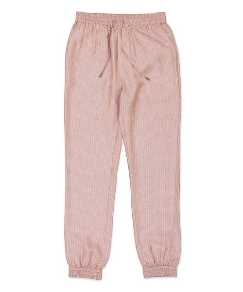 Pink Wave Silk Tracksuit Trousers