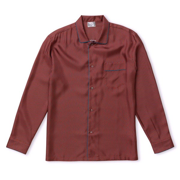 Burnt Wave Silk Pyjama Shirt - All At Sea Cph