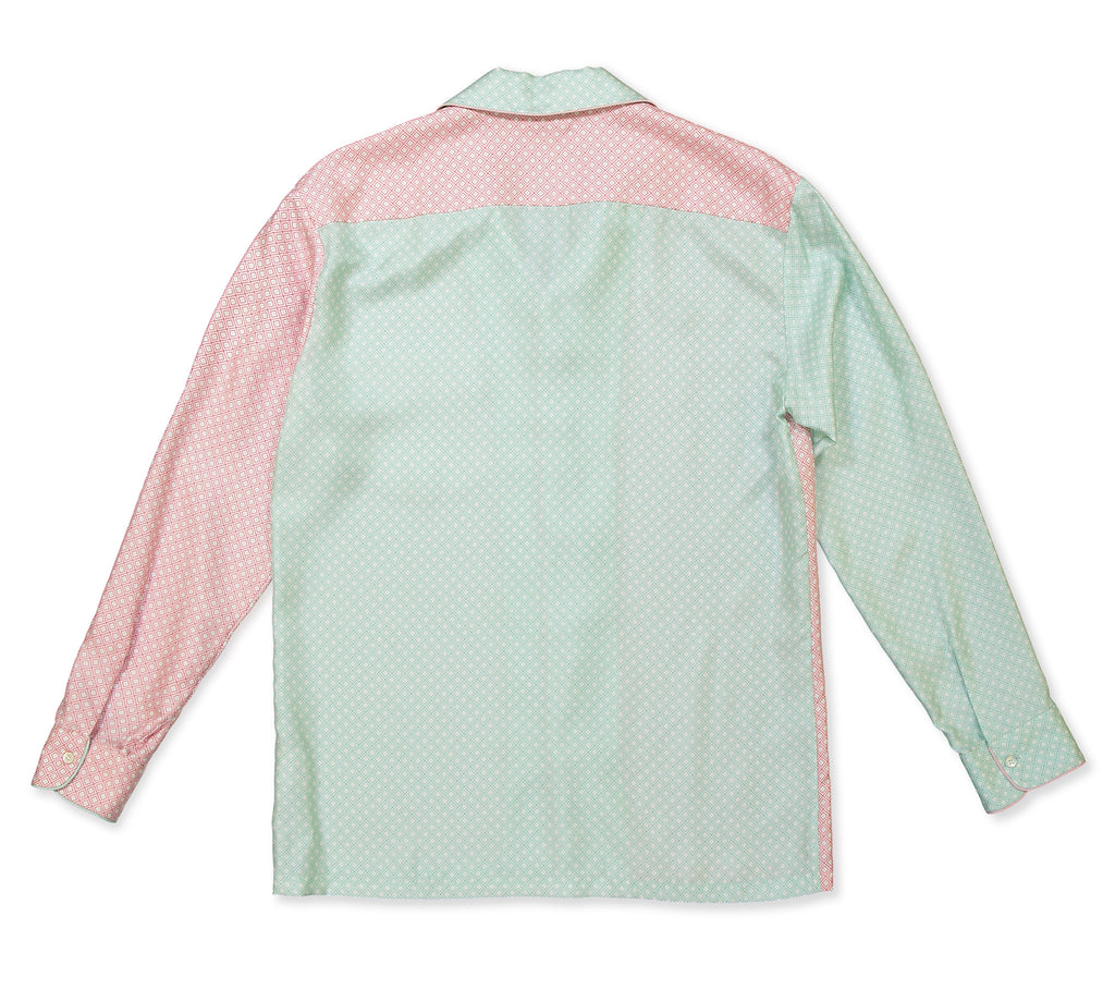 Color Block Pink & Mint Square Pyjama Shirt - All At Sea Cph
