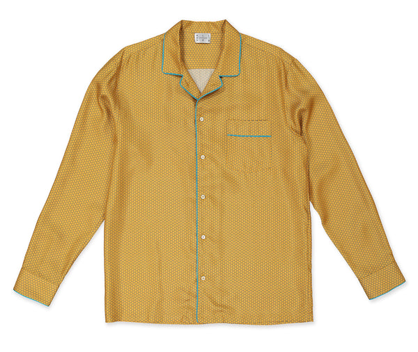 Gold Armor Silk Pyjama Shirt - All At Sea Cph
