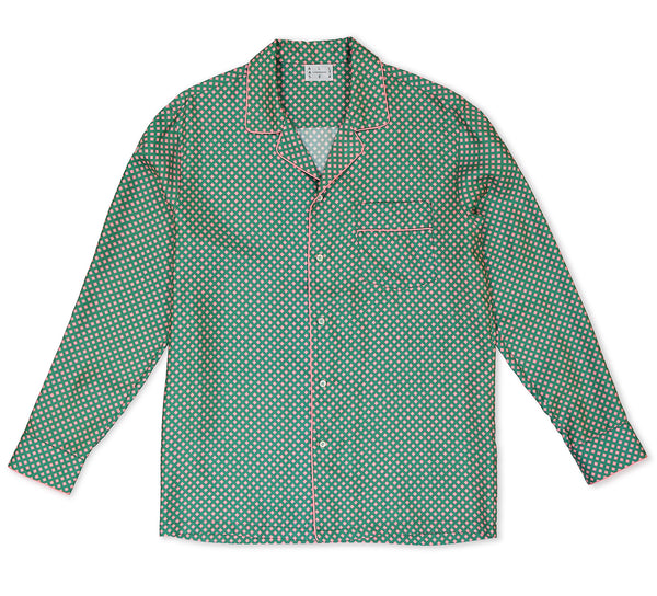 Pink & Green Square Silk Pyjama Shirt