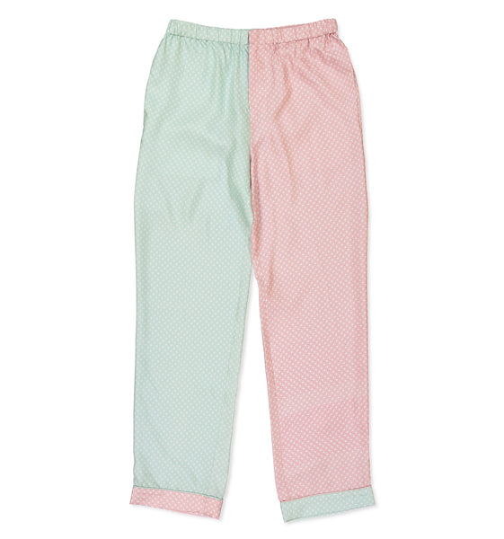 Color Block Pink & Mint Square Pyjama Trousers - All At Sea Cph