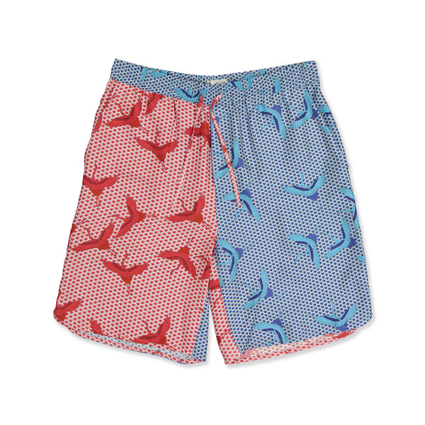 Red & Blue Bird Wave Shorts