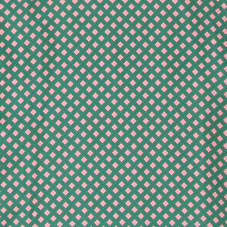 Pink & Green Square Silk Pyjama Shirt - All At Sea Cph