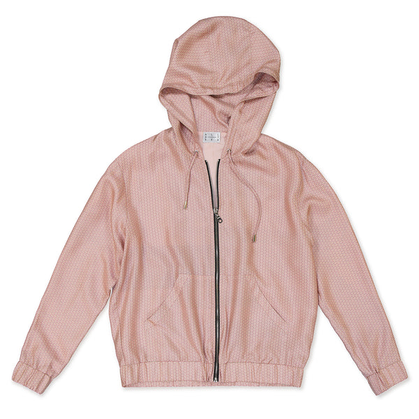 Pink Wave Silk Tracksuit Top