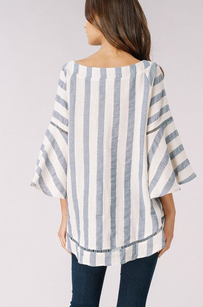 Wide Neck Striped Blouse