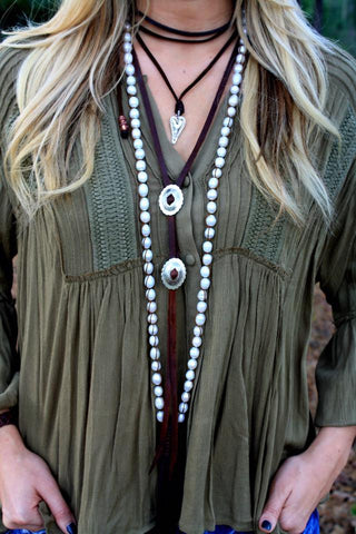 Freshwater Pearl and Leather Tassel