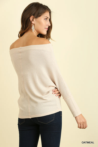 Oatmeal Off Shoulder Sweater