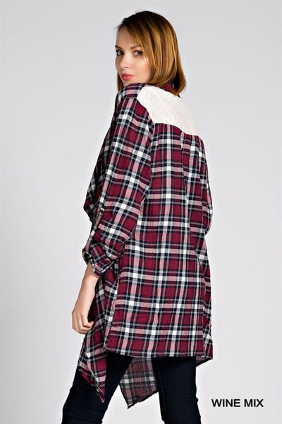 Burgundy Plaid Cardigan