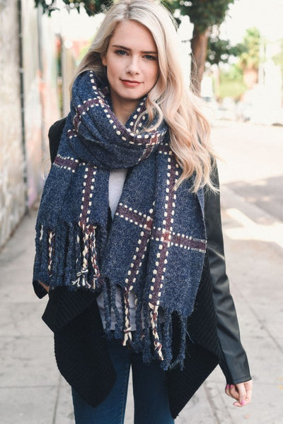 Chunky Plaid Blanket Scarf
