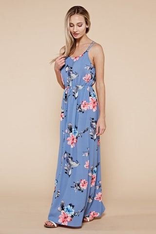 Dusty Blue Floral Maxi