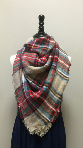 Red Plaid Shawl Scarf