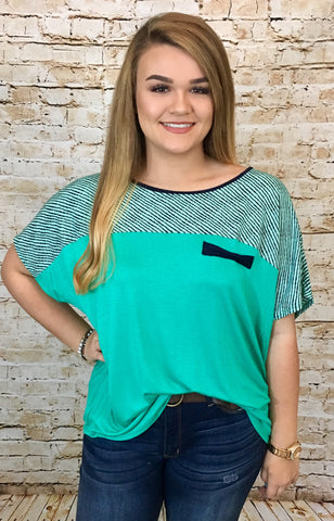 Striped Print Teal Top